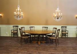 Large Oak Kitchen Table by Large 64 84 Round Solid Oak Dining Table With Leaves