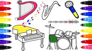musical instruments coloring page learn colors for kids youtube