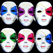 women full face white painted venetian carnival masks party