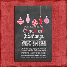 printable chalk style ornament exchange invitation
