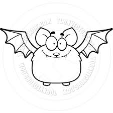 cartoon little bat smiling black and white line art by cory