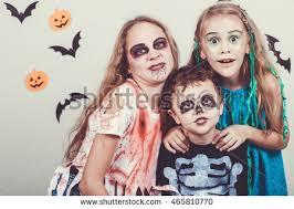 Halloween Costumes Zombies Happy Brother Sisters Halloween Stock Photo 466357721