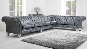 Tufted Leather Sofa Bed Genuine Leather Couches Grey Microfiber Sectional
