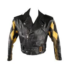 Jean Paul Gaultier 42 Black Leather Quilted Harlequin Sleeve