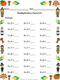 freebie thanksgiving themed worksheet multiplication facts 0 9