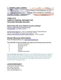 Builders Resume Usajobs Resume Builder Federal Resume Sample And Format The
