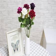 home wedding decor high grade velvet rose fake silk flowers leaf artificial home