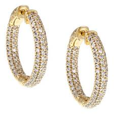 gold clip on earrings gold silver oval pave cubic zirconia hoop earrings free