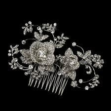 antique hair combs silver clear rhinestone diamond white flower leaf hair comb 753