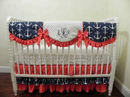 Navy And Coral Crib Bedding Nautical Baby Bedding Set Cerelia Baby Bedding Anchor
