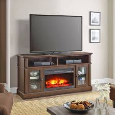 electric fireplace tv stand media storage flame heater laminated