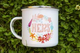retro camper mug for her hers mug ocean inspiration metal enamel