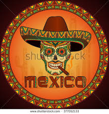 mexican symbols set color tattoos traditional stock vector