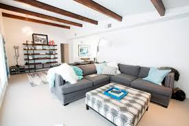 blue and gray sofa pillows splashy gray sofa mode phoenix midcentury living room inspiration