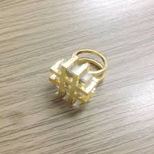 steunk engagement ring gold plating square transparent stones finger rings jewelry