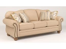 Flexsteel Curved Sofa by Flexsteel Living Room One Tone Fabric Sofa With Nailhead Trim 8648