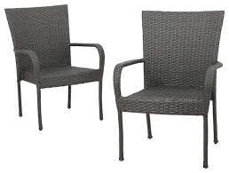 Grey Wicker Patio Furniture by Sultana Outdoor Gray Wicker Stackable Club Chairs Set Of 2