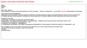 truck driver offer letter