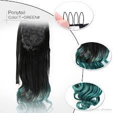 Synthetic Hair Extension by Sale Green Clip In Ponytail Synthetic Ponytail Hair Extension