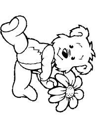 spring coloring page teddy bear with flower primarygames play