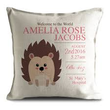 personalised new baby cushion pillow cover christening gift