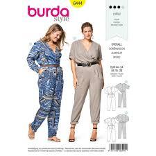 jumpsuit stitching pattern style pattern b6444 women s elastic waist jumpsuits
