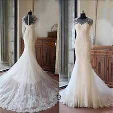 fishtail wedding dress sleeves applique lace mermaid wedding dresses fishtail bridal