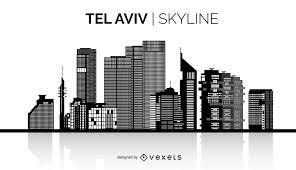 tel aviv silhouette skyline vector download