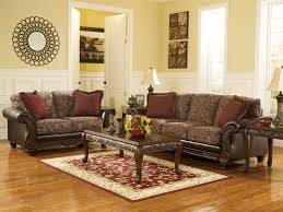 world brown faux leather chenille sofa loveseat