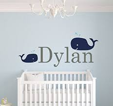 Wall Decals For Nursery Boy Custom Whale Name Wall Decals For Boys Baby Room