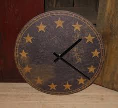 americana wall clock navy blue 13 gold star primitive farmhouse