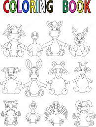 cartoon coloring book farm animals by clairev toon vectors