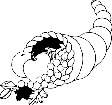 thanksgiving cornucopia clipart black and white clipartxtras