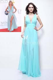 miranda kerr light blue chiffon plunging cutout celebrity prom