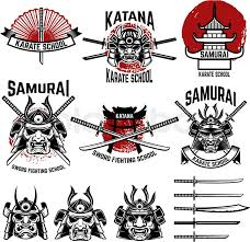 Karate school labels Samurai swords samurai masks Japanese