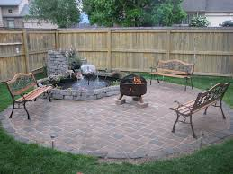 patio small backyard fire pits with iron chairs on stone flooring