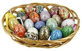 wooden easter eggs that open set of 18 wooden easter eggs ornaments in basket with