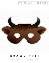 printable bull mask halloween mask printable mask brown bull mask ox cow