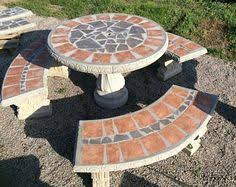cement table and bench patio set patio table outdoor tables mosiac table palm tree 42