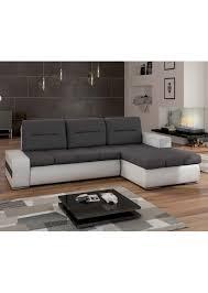 canape d angle gris anthracite canapé d angle convertible en simili cuir blanc et tissu gris foncé