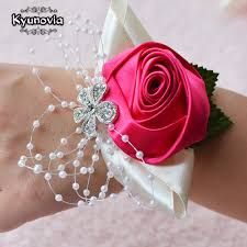 handmade flower bracelet images Kyunovia wedding prom corsage bride wrist corsages flower pearl jpg
