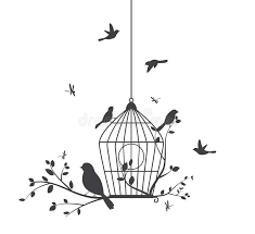 birds silhouette with tree and birdcage stock vector illustration
