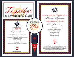 vow renewal program templates free vow renewal invitation suite classic nautical theme