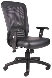 Leather Task Chair B580 Boss Mesh High Back Office Task Chair With Leather Seat