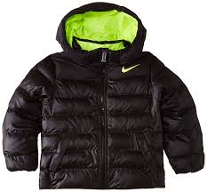 nike boys alnce insulate hooded lk jacket black black volt volt