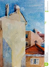 architectural watercolor sketch of buildings stock illustration