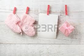 decorations for newborn on wooden background stock photo