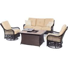 Hanover Patio Furniture Orleans 4 Piece Woven Fire Pit Set With Tan Porcelain Tile Top In