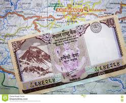 Nepal On Map Nepali Currency Note On Map Stock Photo Image 74569315