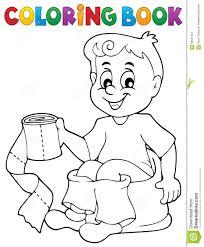 Garçon De Livre De Coloriage Sur Le Pot Illustration de Vecteur